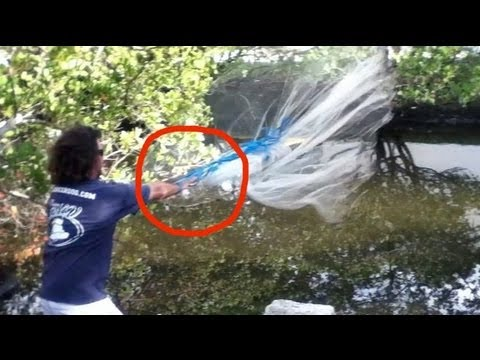 Super Slow Motion Cast Net Throw with Mullet