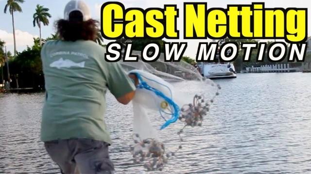 Cast Net Throwing In Slow Motion