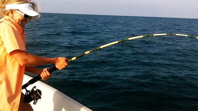 Tarpon Fishing – Girl Catches Nice Tarpon – Miami Beach